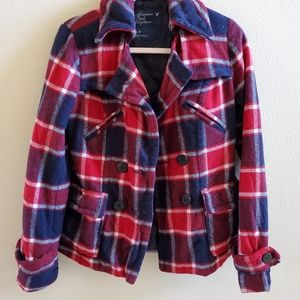 American Eagle Outfitters coat Peacoat Red Plaid